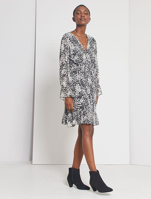 Robe voilage imprimée                             noir/blanc