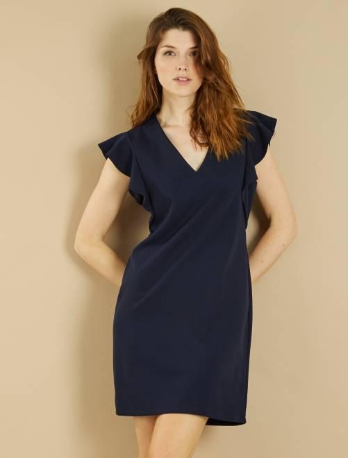 Robe volantée en crêpe                                                                             bleu marine Femme