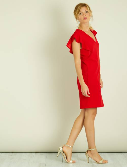 Robe volantée en crêpe                                                                             rouge Femme