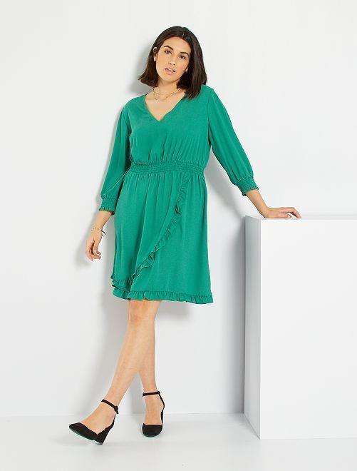 Robe volantée et smockée                             vert pin
