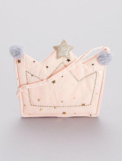 Sac à main 'couronne' en tissu pailleté                             rose