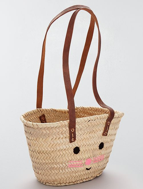 Sac à main tressé type paille                             beige naturel