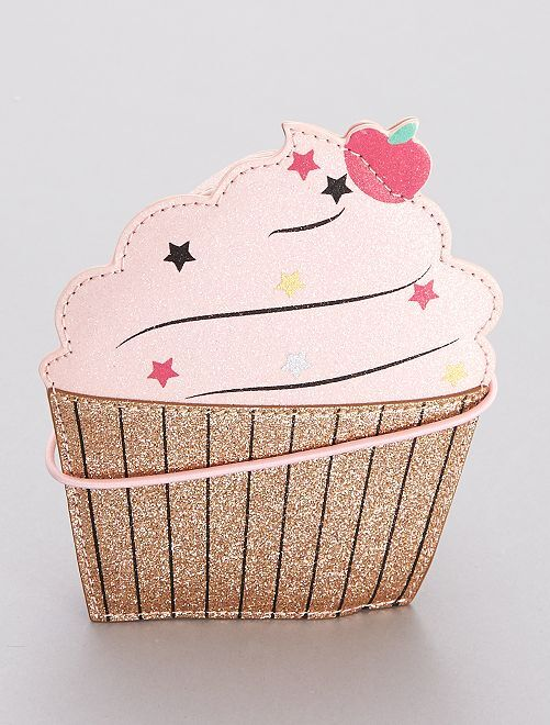 Sac à paillettes 'cupcake'                             rose