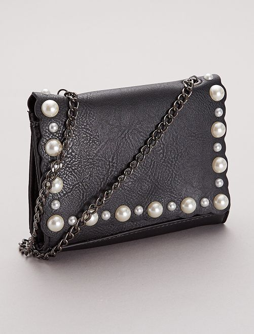 Sac bandoulière à perles                             noir
