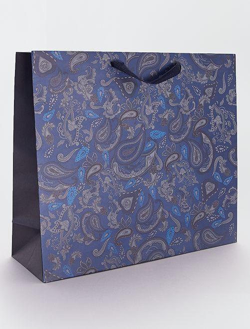 Sac cadeau en papier recyclé                             bleu