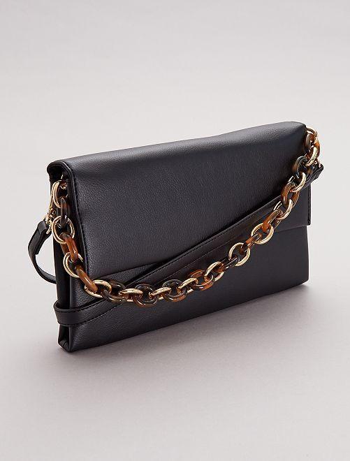 Sac pochette avec chaîne et bandoulière                             noir
