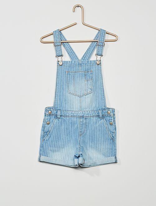 Salopette en jean                                                                             bleu rayé