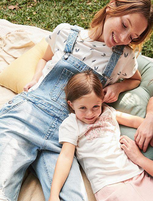 Salopette en jean coupe droite                             bleu Femme