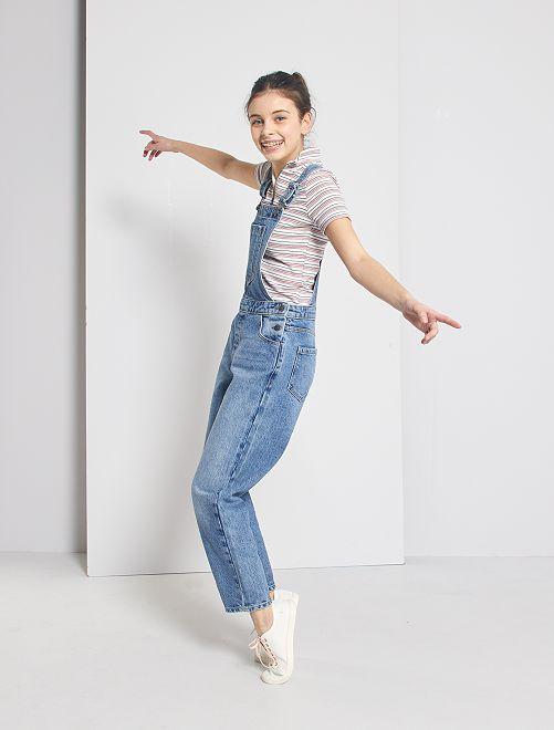 Salopette mom en jean                             bleu