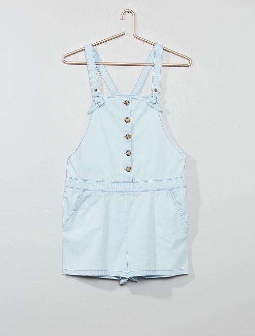 Salopette short boutonnée                             bleu Fille adolescente