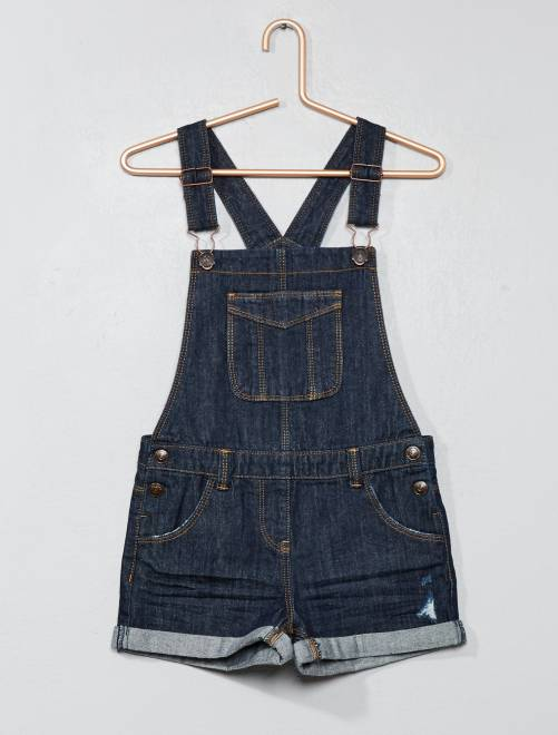 Salopette short en denim                                                                 brut