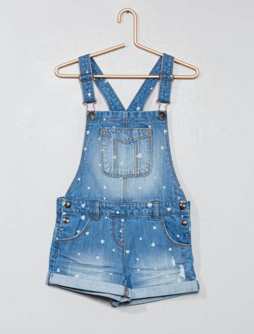 Salopette short en denim                                                                 stone