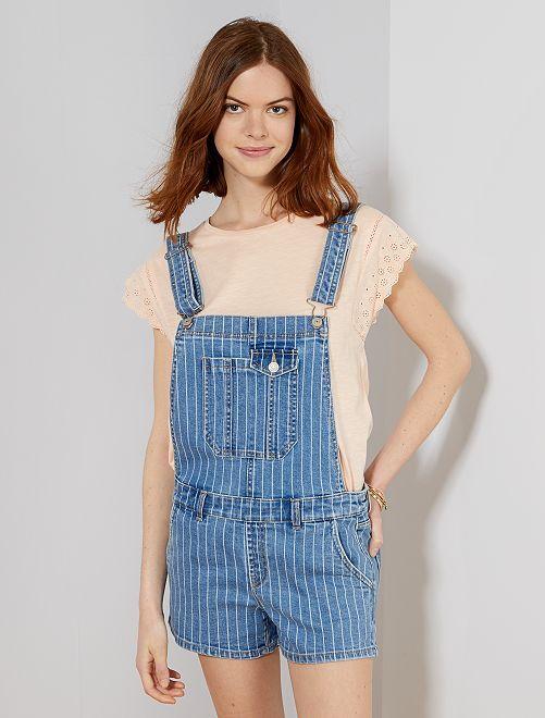 Salopette short en jean                             bleu rayé Femme