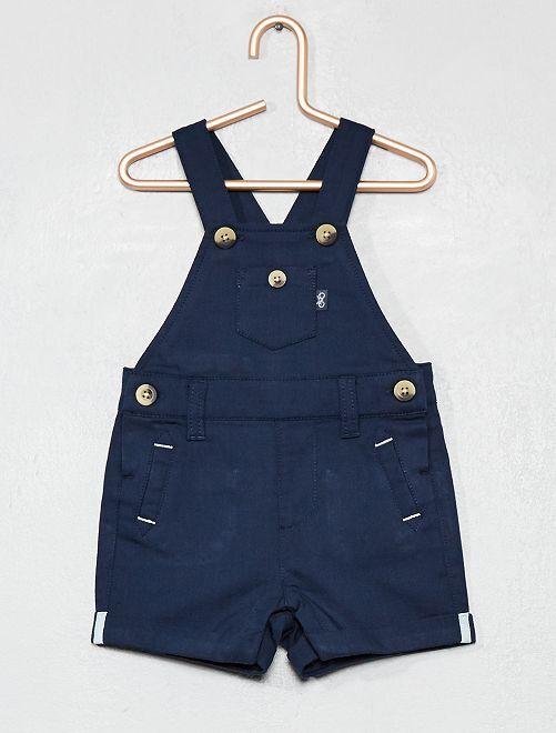 Salopette short en toile pur coton                     bleu marine