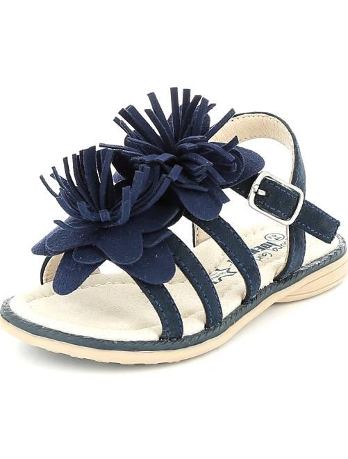 Sandale plate en suédine avec franges                             bleu navy