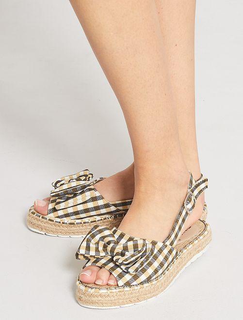 Sandales à carreaux                                         jaune
