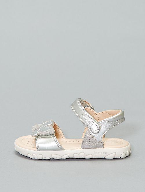 Sandales à fleurs 'Geox'                             argent