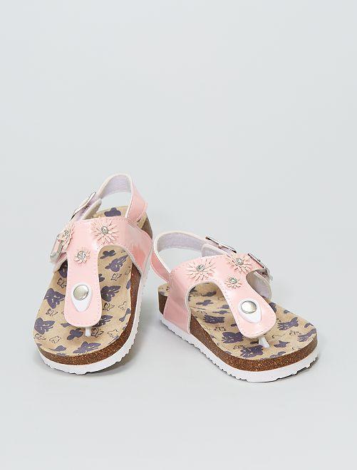 Sandales à fleurs                             rose