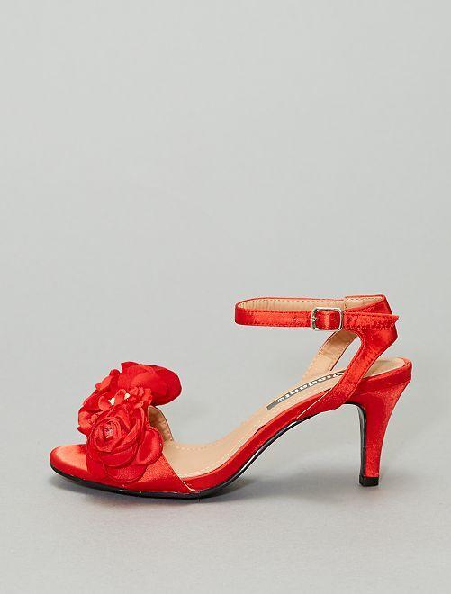Sandales à fleurs                     rouge