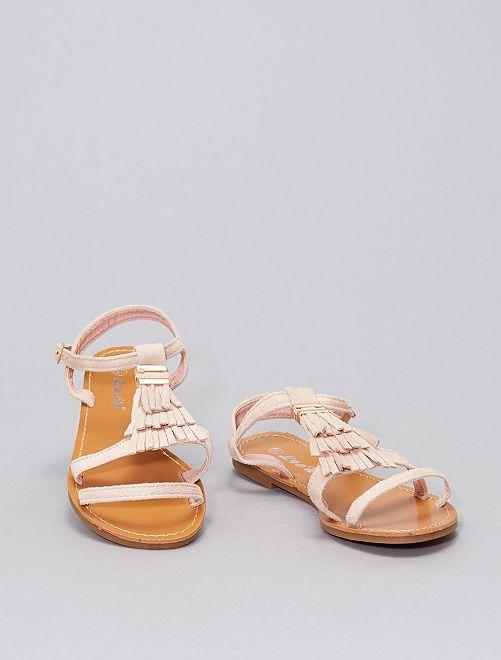 Sandales à franges                             rose