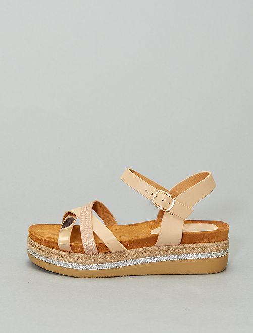 Sandales à plateforme en simili                                         beige