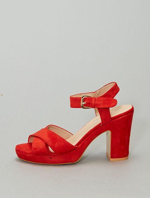 Sandales à plateforme en suédine                                         rouge