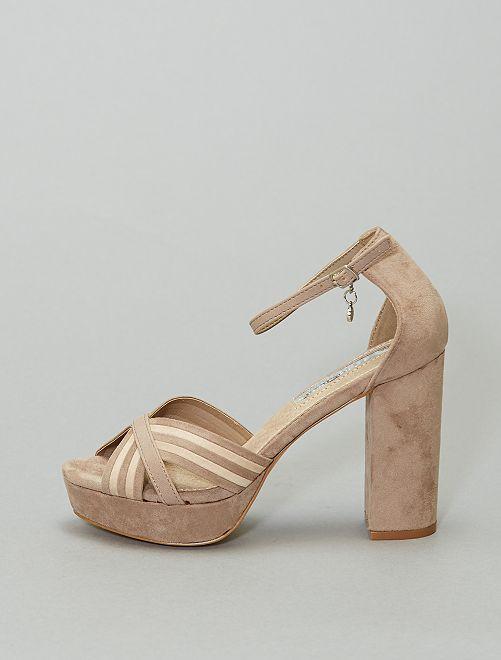 Sandales à plateforme en suédine                             taupe
