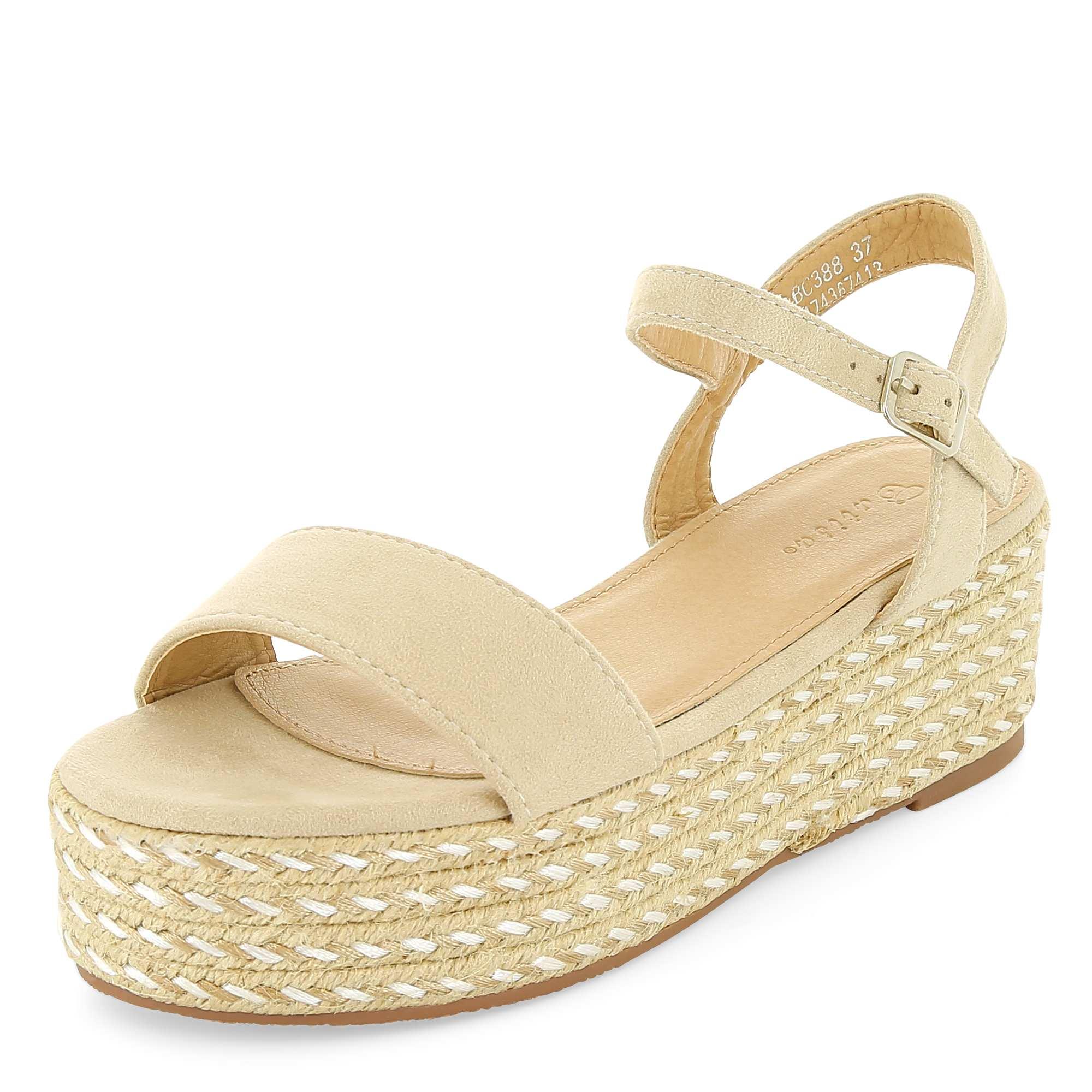 Couleur : beige, , ,, - Taille : 39, 40, ,,Prenez de la hauteur avec ces sandales à plateformes ! - Sandales à plateformes -