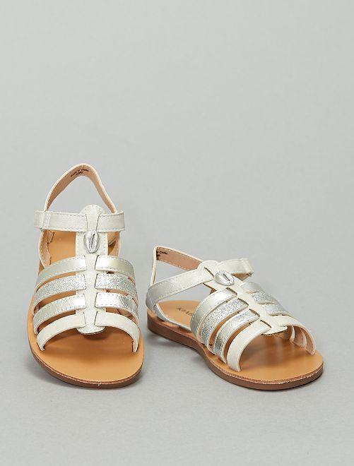 Sandales à scratch                                         argent