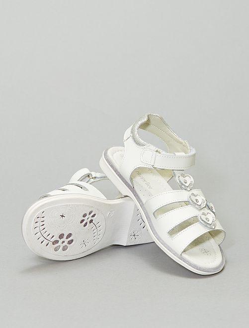 Sandales à scratch avec fleurs                             blanc