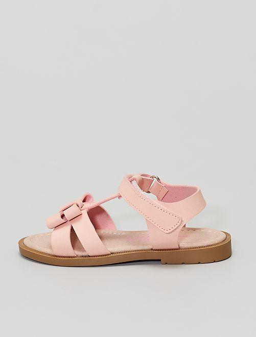 Sandales à scratch avec nœud fantaisie                             rose