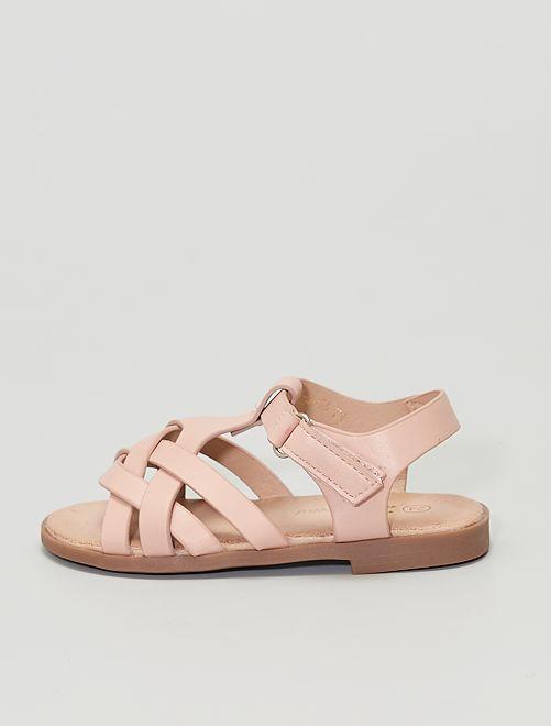 Sandales à scratch                                         rose