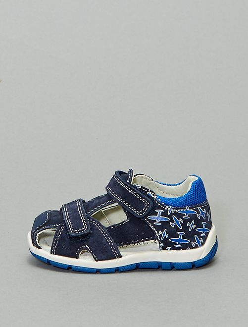 Sandales à scratchs en cuir                             bleu navy