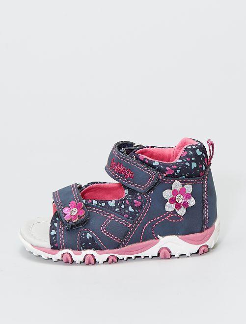 Sandales à scratchs fleuries                             bleu navy
