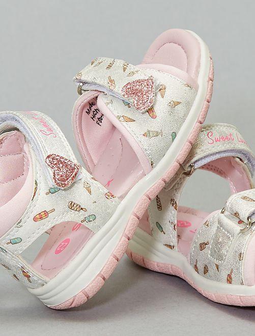 Sandales à scratchs imprimées 'glaces'                             blanc/rose