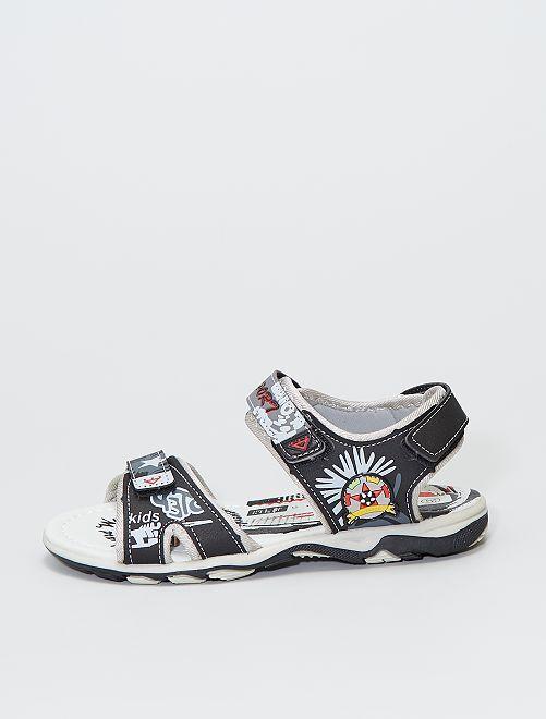 Sandales à scratchs imprimées sport                             noir