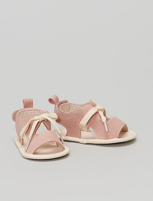 Sandales à scratchs                             rayé rose