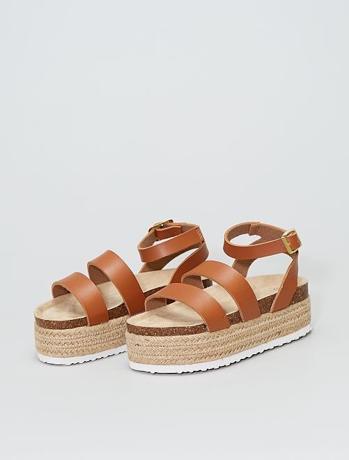 Sandales à semelles compensées                             camel