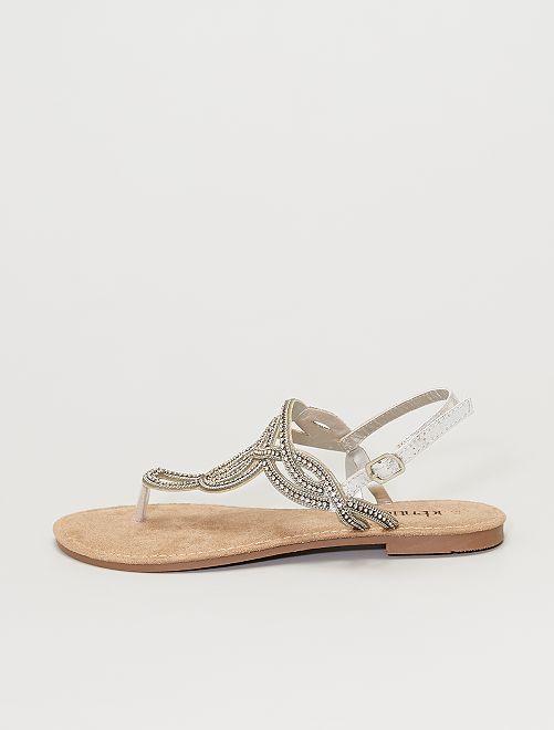 Sandales à strass                             argent