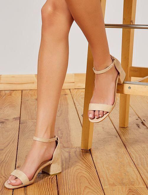 Sandales à talon carré                                         beige Chaussures