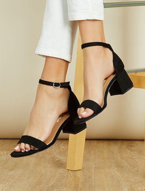 Sandales à talon carré                                         noir Chaussures