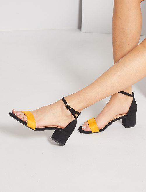 Sandales à talon en suédine                                                                 jaune