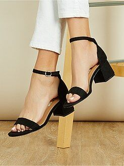 Sandales à talon en suédine - Kiabi