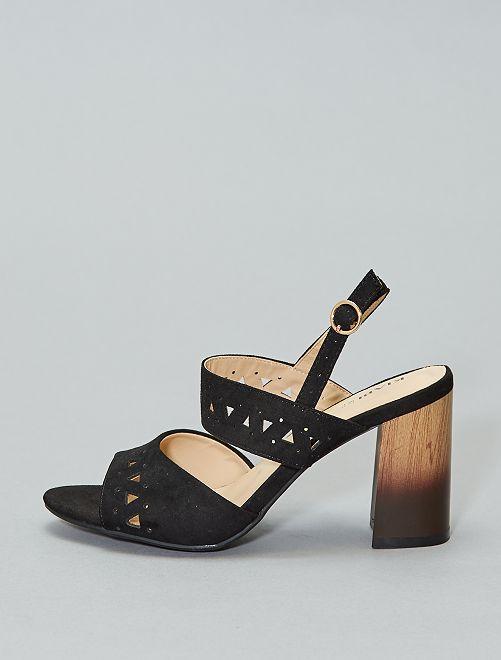 Sandales à talon en suédine                             noir Femme
