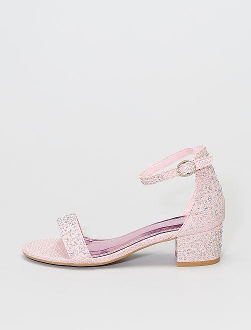Sandales à talons à strass                             rose