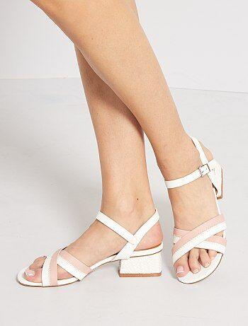 Sandales à talons en simili