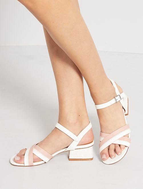 Sandales à talons en simili                             blanc/rose