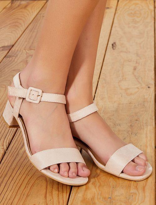 Sandales à talons en suédine                                         beige Femme