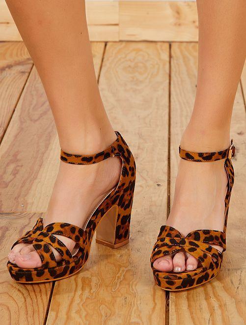 Sandales à talons en suédine                                         léopard Femme