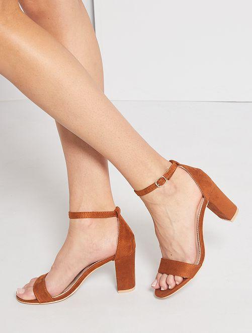 Sandales à talons en suédine                             marron